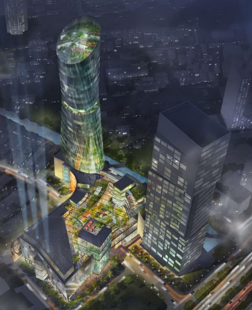 An aerial perspective of the project at nighttime.