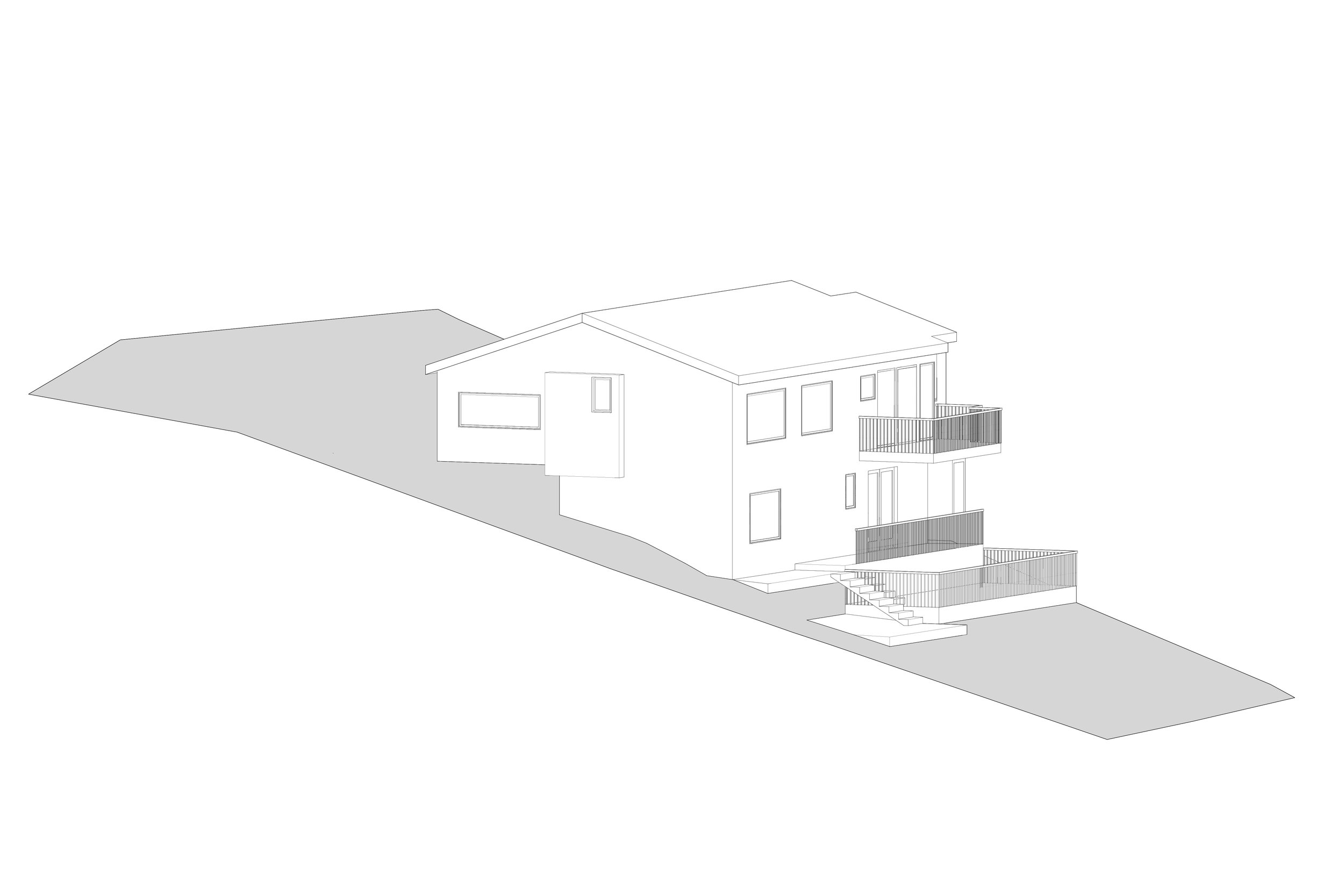 Existing House with two small decks at different levels.