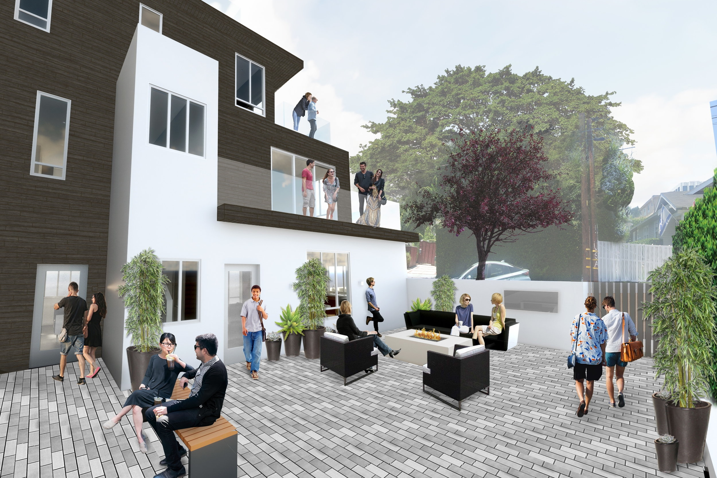 Rendered view of interior courtyard.