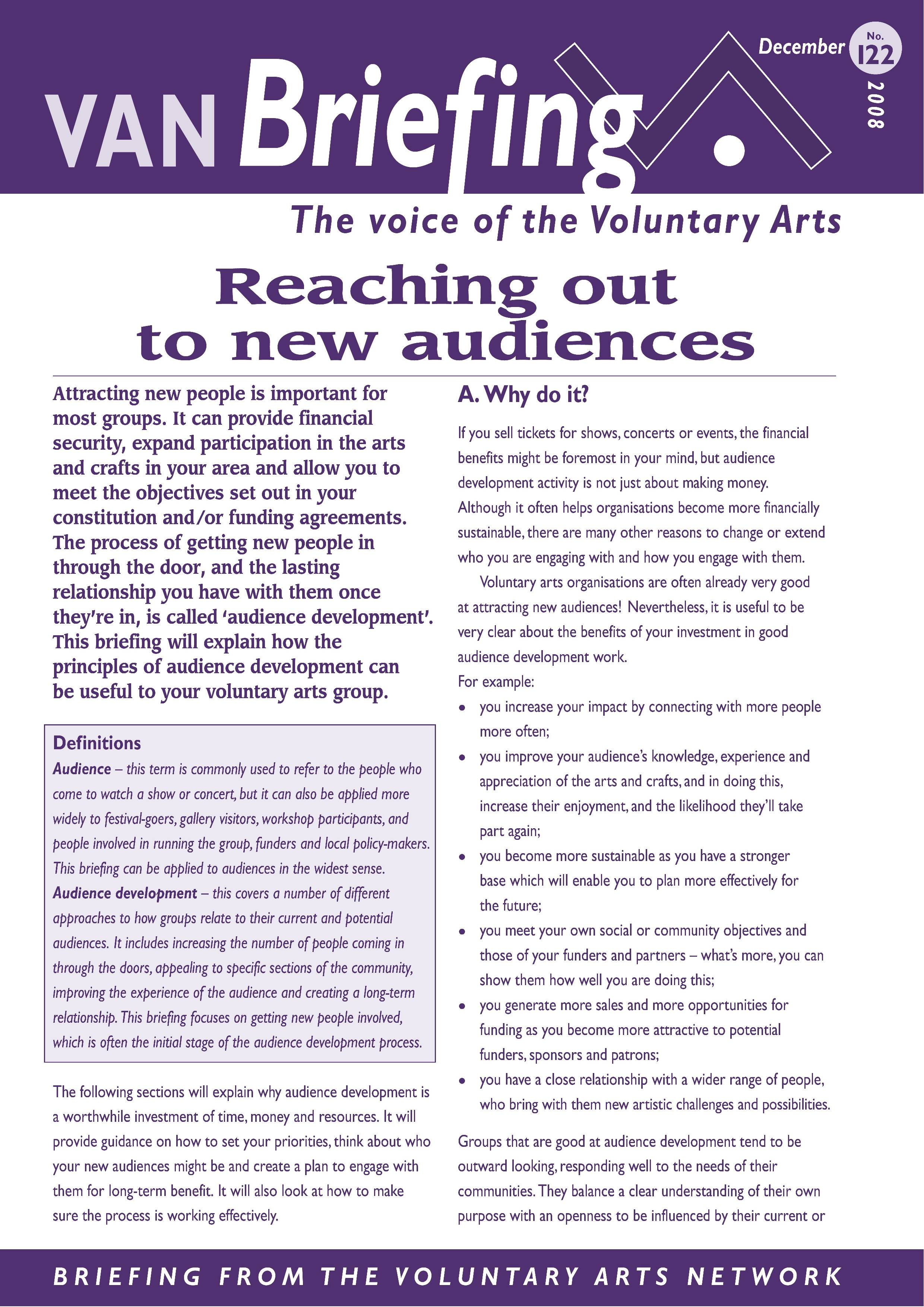 Reaching Out to New Audiences
