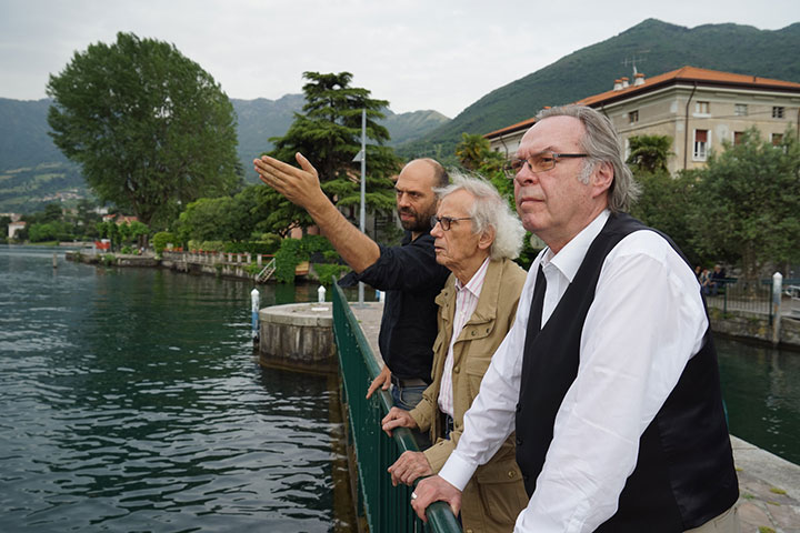 Operations manager Vladimir Yavachev, Christo and registrar/curator Josy Kraft are scouting the future location of the project, Lake Iseo, May 2014
