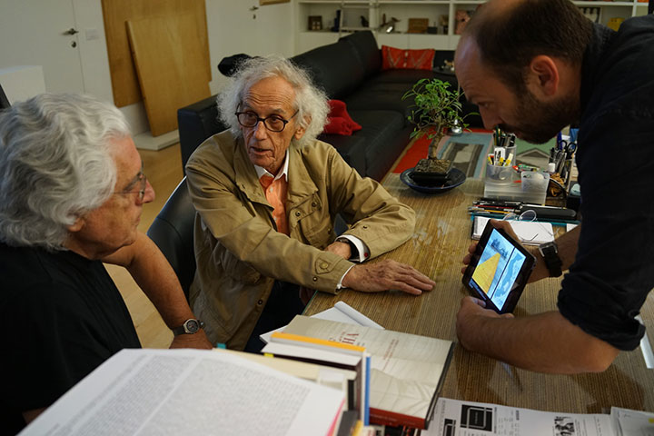 Christo presents his idea for The Floating Piers to his old friend and future project director Germano Celant, Milano, June 2014