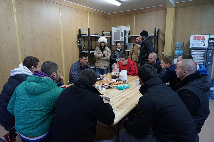 Team briefing at the project's headquarters in Montecolino, Lake Iseo, December 2015