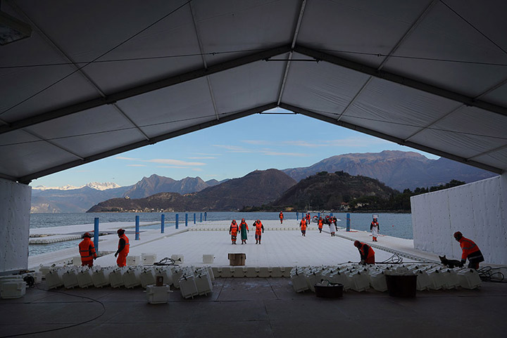 At the headquarters in Montecolino, construction workers assemble the piers, which are produced in 100-meter-long segments and stored outside Montecolino on Lake Iseo, January 2016