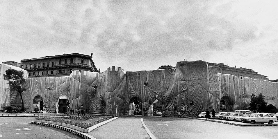 The Wall - Wrapped Roman Wall, Via Veneto and Villa Borghese, Rome, Italy, 1973-74