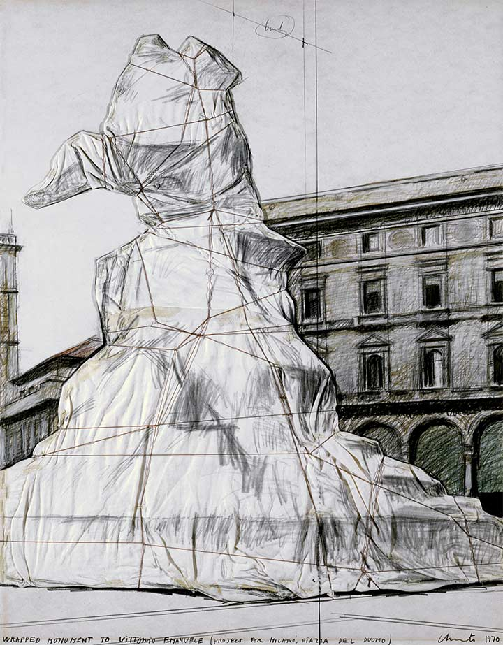 Wrapped Monument to Vittorio Emanuele (Project for Milano, Piazza de Duomo)