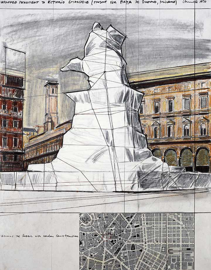 Wrapped Monument to Vittorio Emanuele (Project for Piazza de Duomo, Milano)