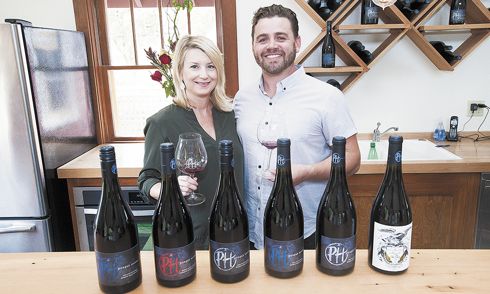 Marque and Cody Wright at their previous Purple Hands' tasting room.