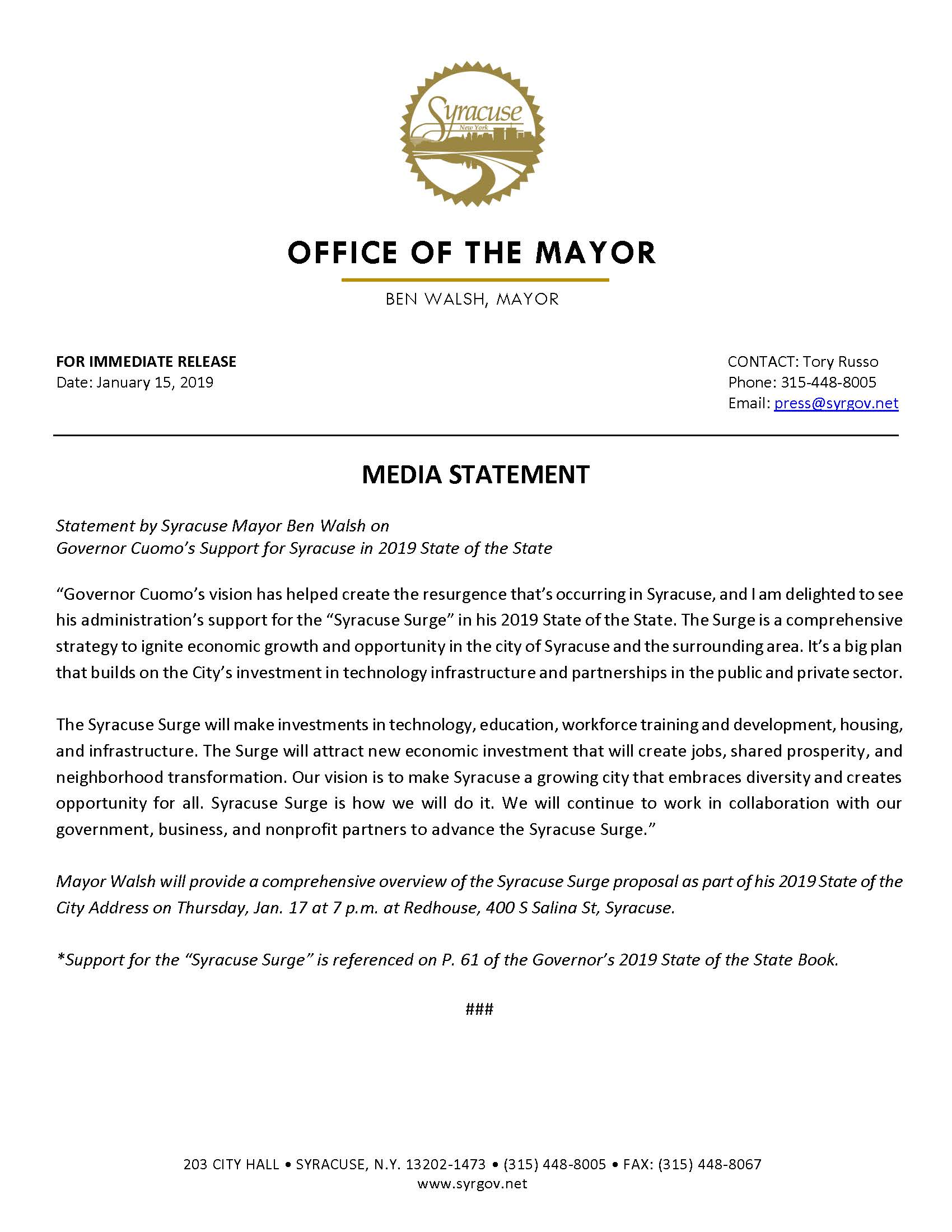 2019 01 15 MEDIA STATEMENT Syracuse Mayor Ben Walsh on Governor Cuomo's State of the State.jpg