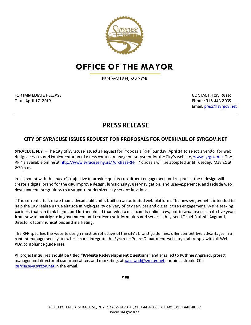 2019 04 17 PRESS RELEASE City of Syracuse Issues RFP for Overhaul of Syrgov.net.jpg
