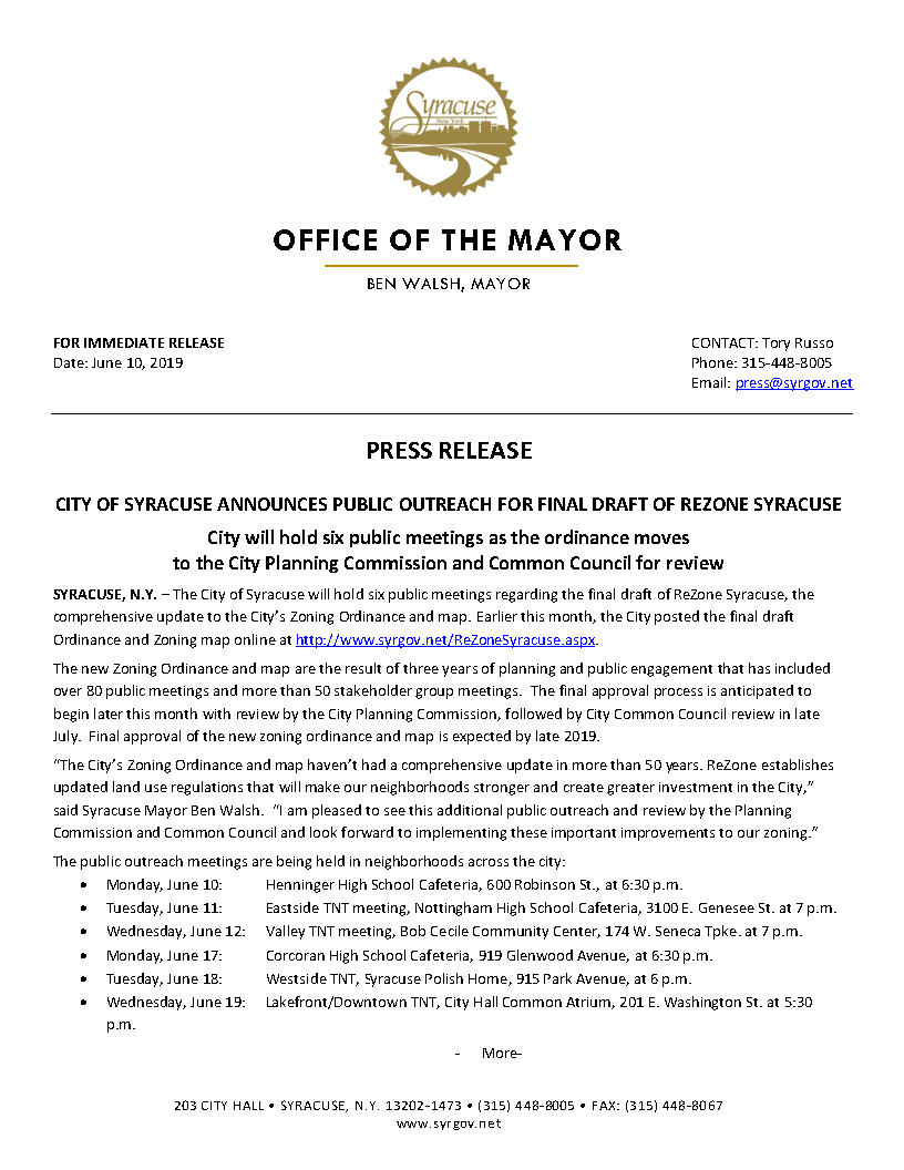 2019 06 10 PRESS RELEASE City of Syracuse Announces ReZone Public Outreach_Page1.jpg