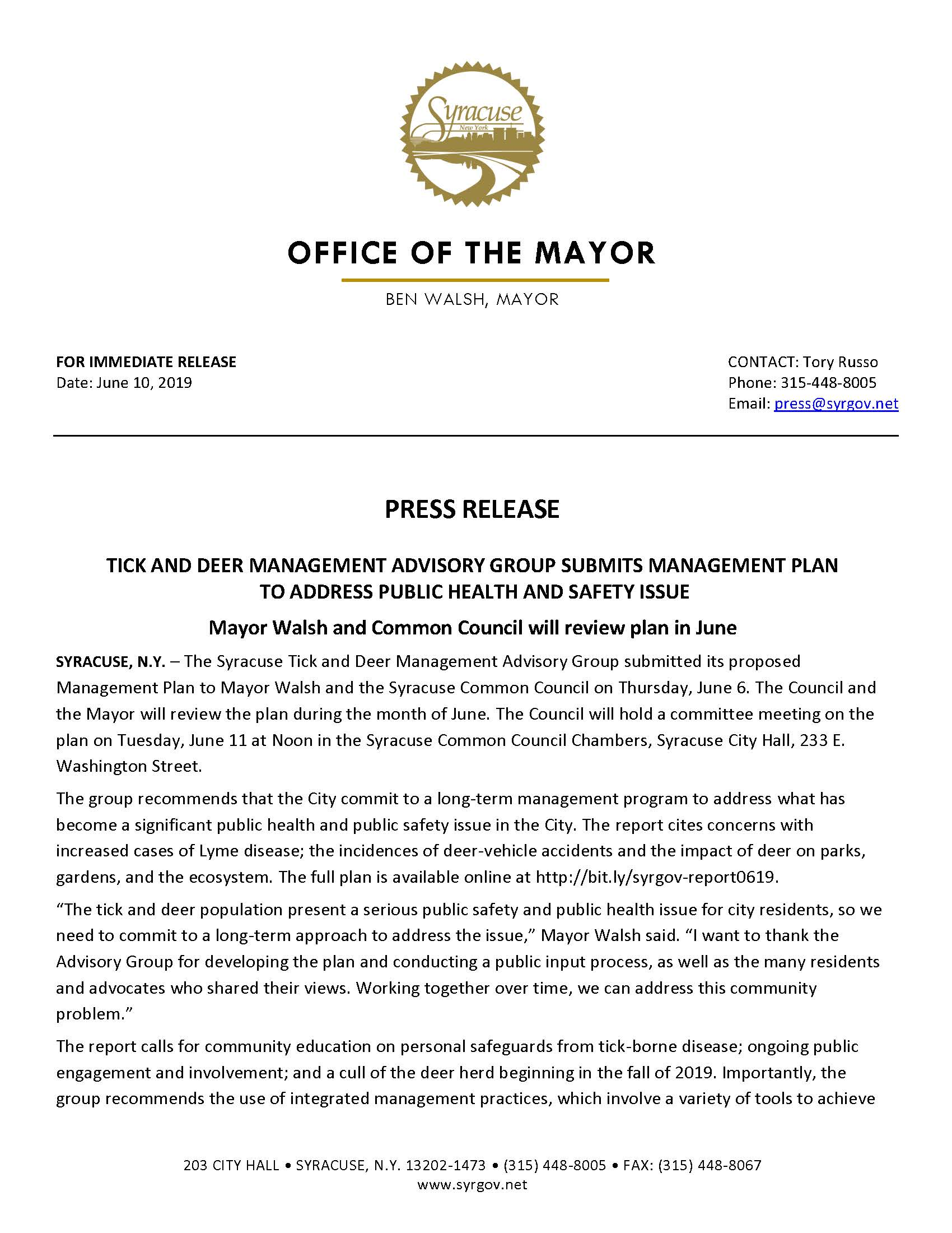 2019 06 10 PRESS RELEASE Advisory Group Submits Tick and Deer Management Plan_Page_1.jpg