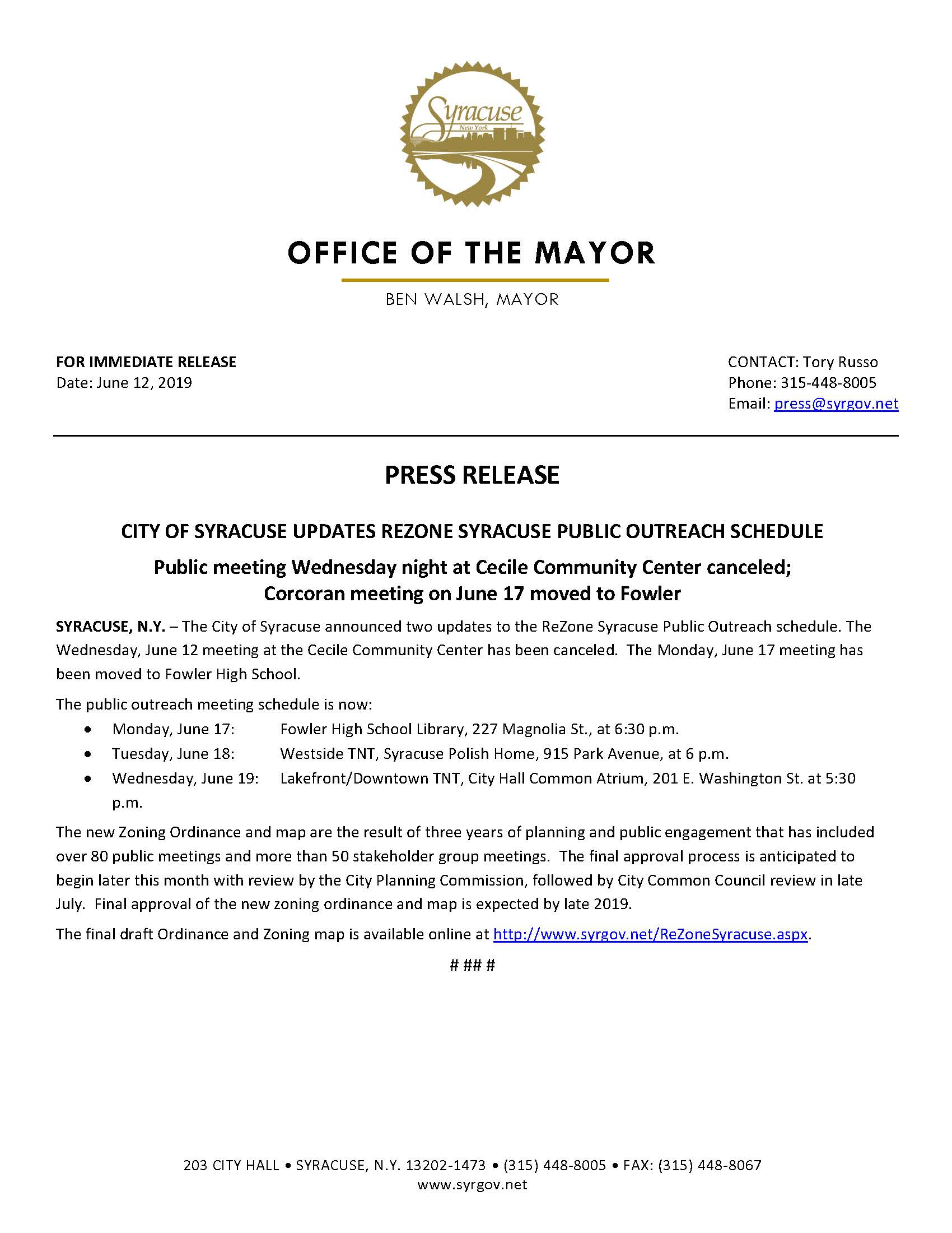 2019 06 12 PRESS RELEASE City of Syracuse Updates ReZone Meeting Schedule.jpg