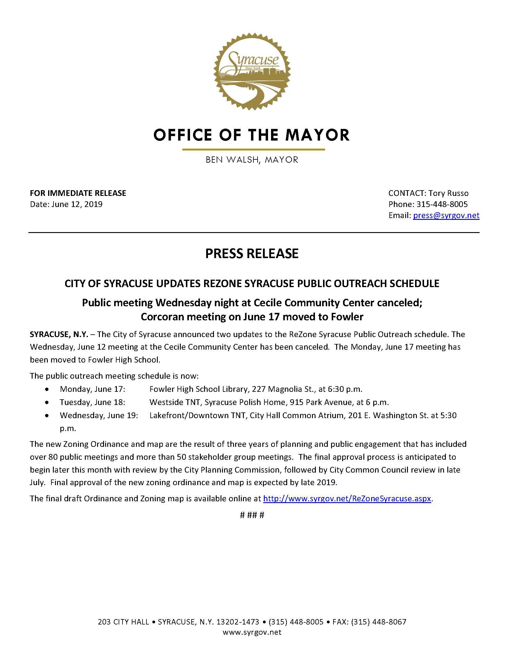 2019 06 12 PRESS RELEASE City of Syracuse Updates ReZone Meeting Schedule.jpg