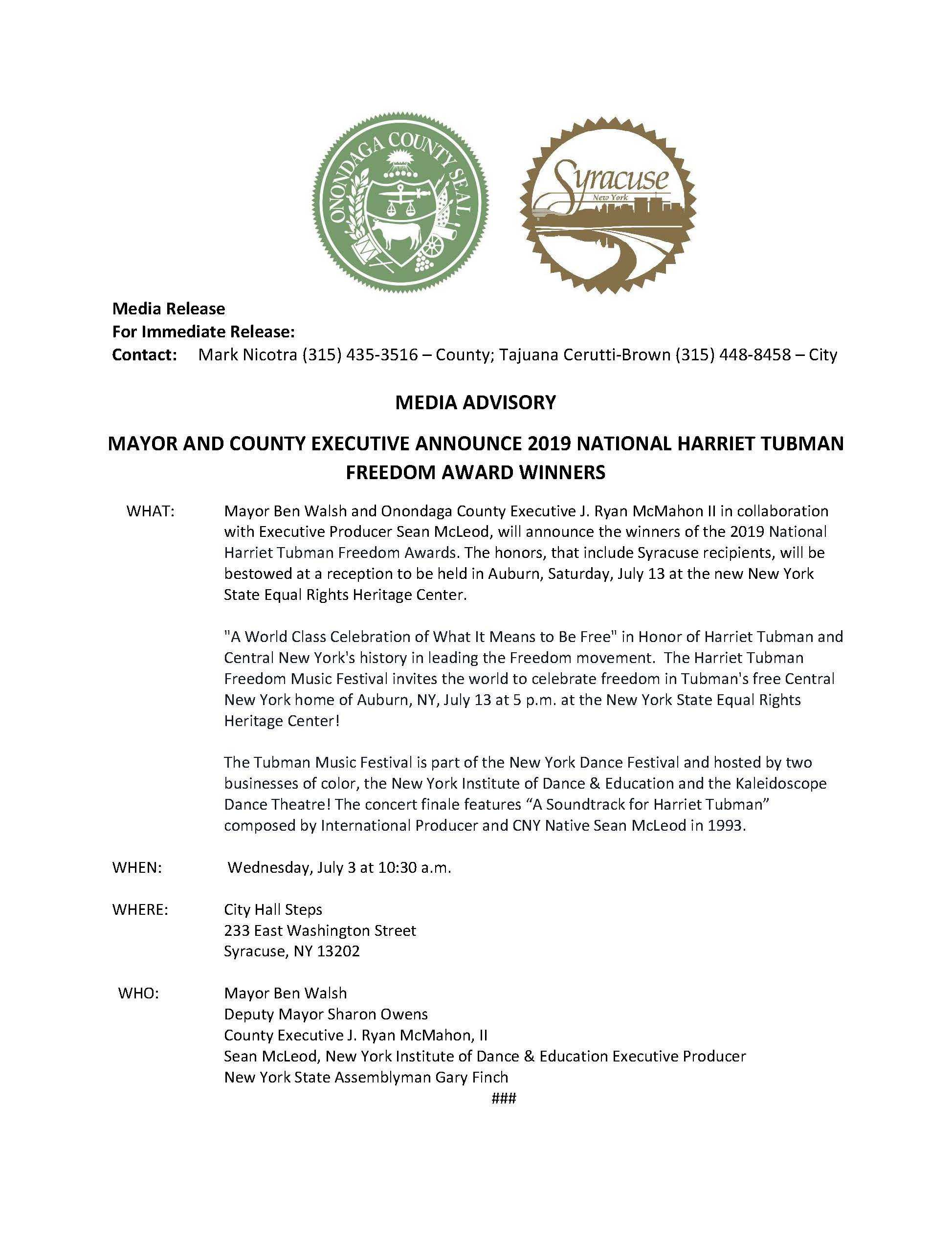 2019 07 02 MEDIA ADVISORY Mayor and County Executive Annouce 2019 National Harriet Tubman Freedom Award Winners.jpg