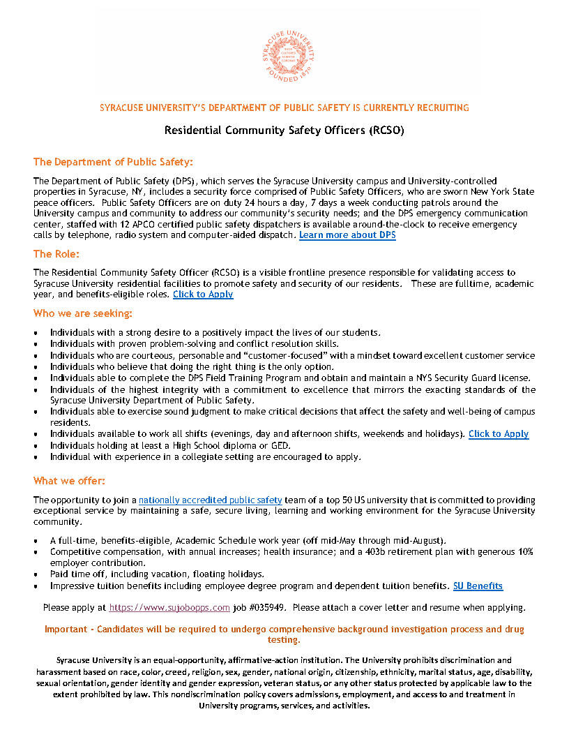 Syracuse University Job Announcement - Residential Community Safety Officer.jpg