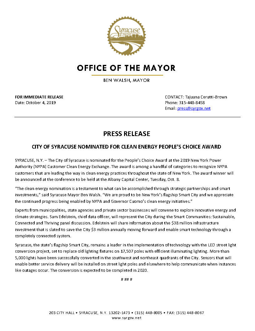 2019 10 04 PRESS RELEASE City of Syracuse Nominated for Clean Energy People's Choice Award.jpg