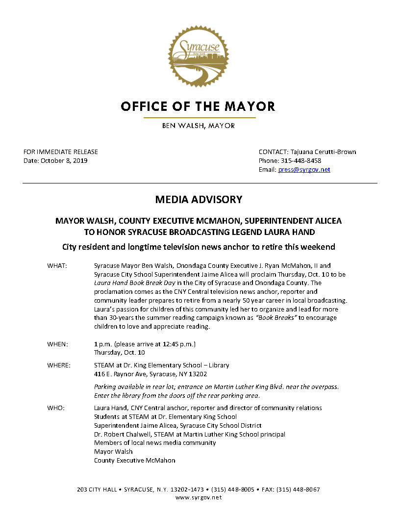2019 10 08 MEDIA ADVISORY Mayor Walsh County Executive McMahon Superintendent Alicea to Honor Syracuse Broadcasting Legend Laura Hand.jpg