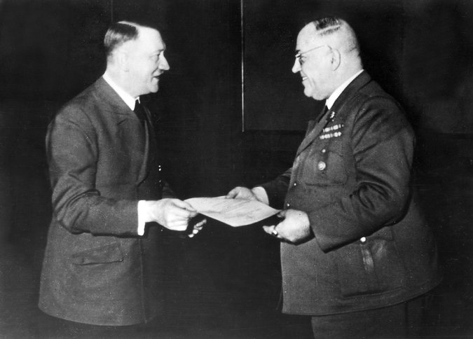 Adolf Hitler in 1944 with his personal physician, Theodor Morell, who supplied him with opiates.  CreditHeinrich Hoffmann/llstein bild, via Getty Images