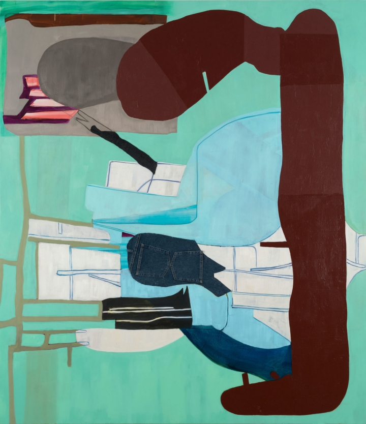 "Medrie MacPhee, ""Out of Pocket"" (2016), oil and mixed media on canvas, 90 x 78 inches"