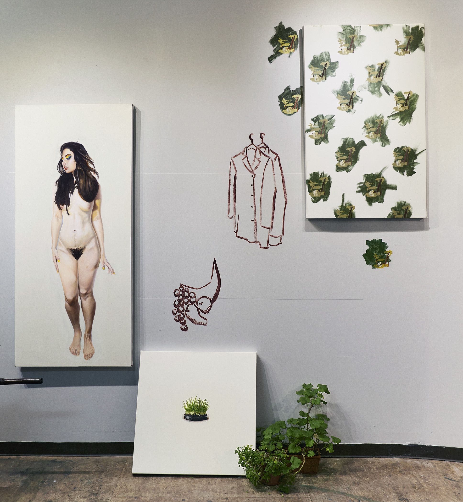 Phil Rabovsky.  Luncheon on the Grass: How I Thought Audrine Wanted Me to Paint Her Before I Realized She Attached Different Meanings to Her Words  (2017). Oil, acrylic, and silkscreen on canvas; plants.