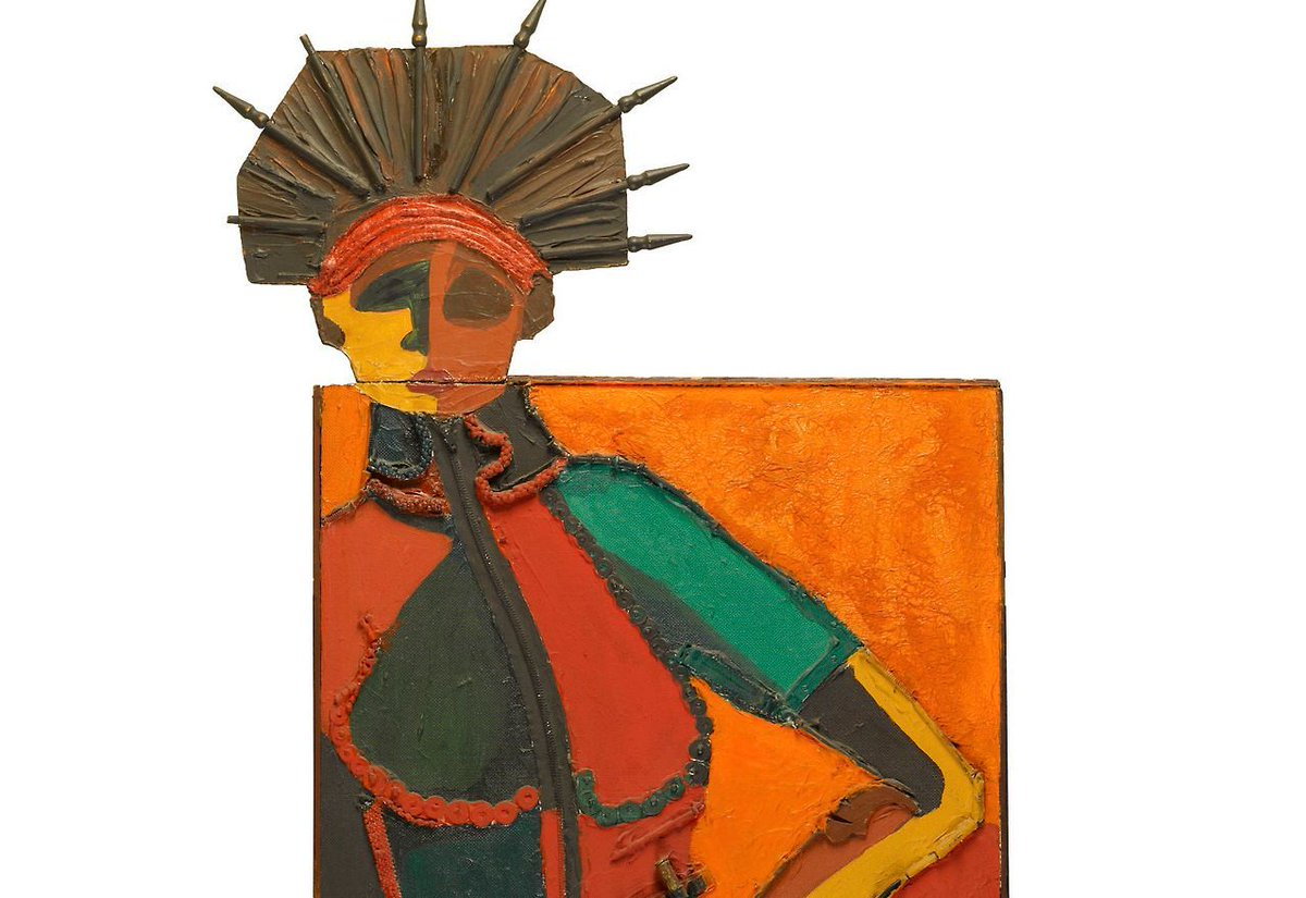 2) Dindga McCannon -  Revolutionary Sister,  1981.Mixed media construction on wood. 62 x 27 inches.