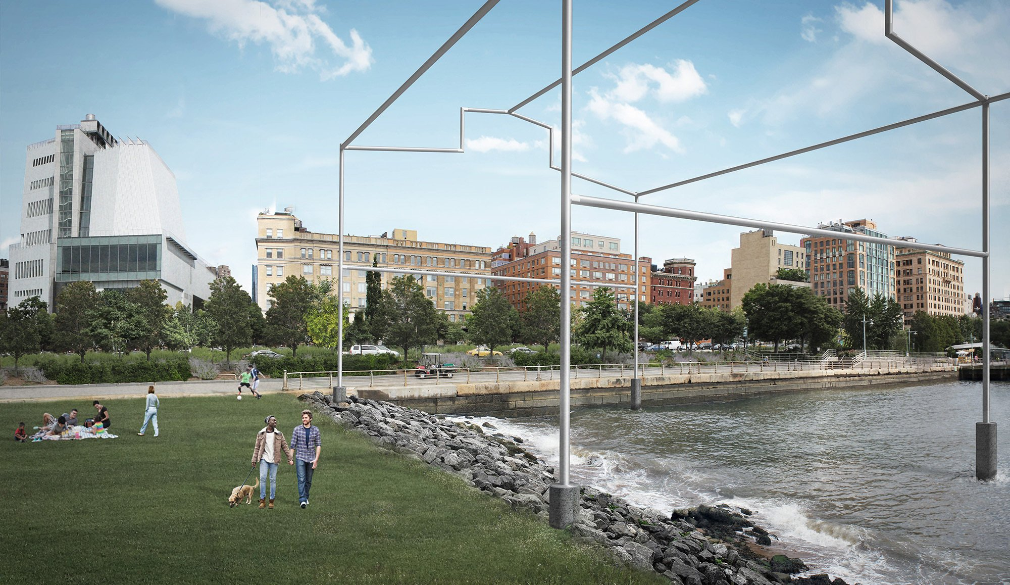 """A rendering of """"Day's End,"""" a proposed public art installation by David Hammons that would enter the Hudson River near the meatpacking district. On left, the Whitney Museum of American Art. Guy Nordenson and Associates"""