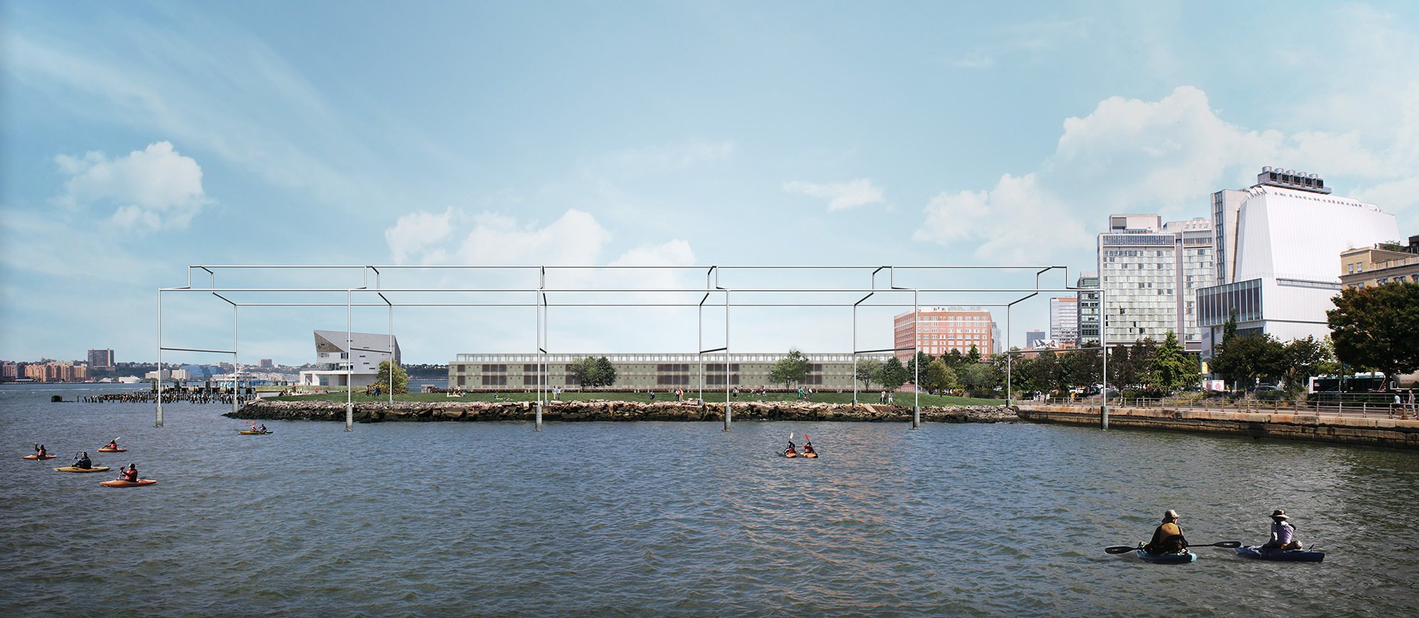 A rendering of the proposed Hammons art installation as seen from the south.CreditGuy Nordenson and Associates