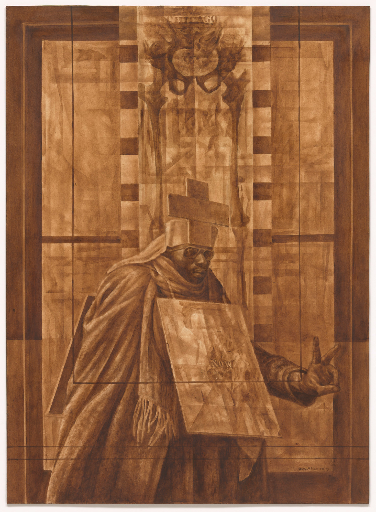 """Charles White. Black Pope (Sandwich Board Man) . 1973. Oil wash on board, 60 × 43 7/8"""" (152.4 × 111.4 cm). Richard S. Zeisler Bequest (by exchange), The Friends of Education of The Museum of Modern Art, Committee on Drawings Fund, Dian Woodner, and Agnes Gund. © 2017 The Charles White Archives"""