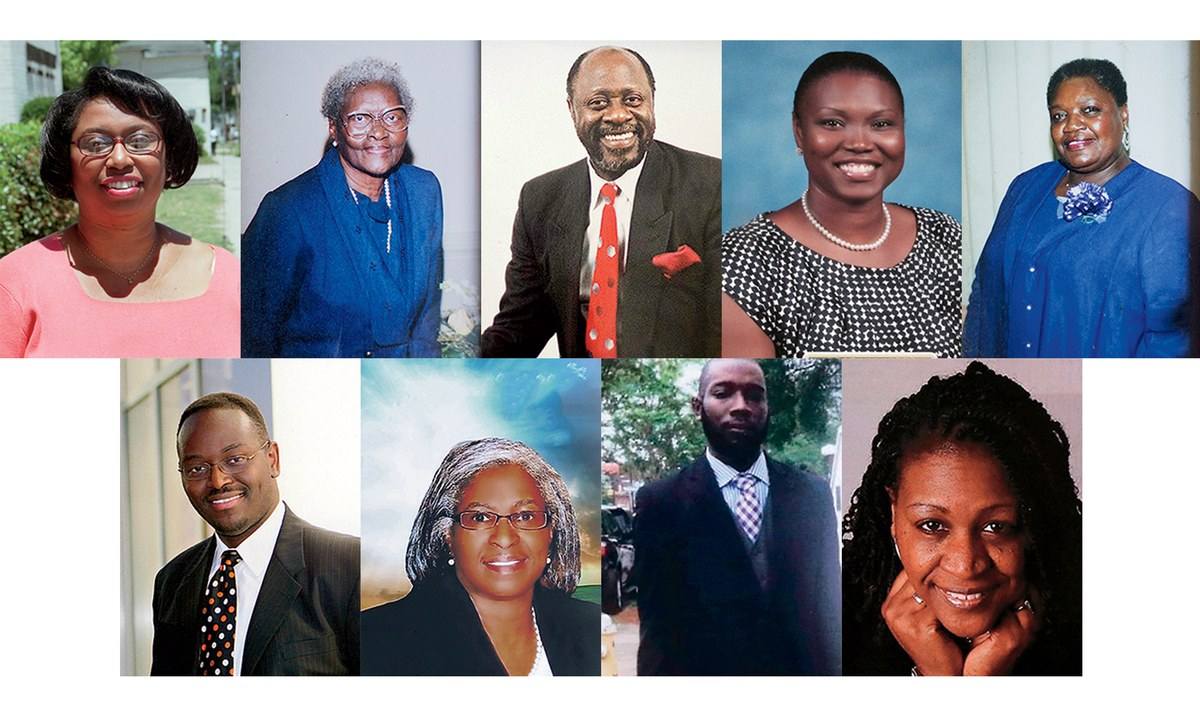 (Top row, from left) Cynthia Hurd, Susie Jackson, Daniel Simmons, Sharonda Coleman-Singleton, Ethel Lance. Bottom row: Clementa Pinckney, Myra Thompson, Tywanza Sanders, DePayne Middleton-Doctor.