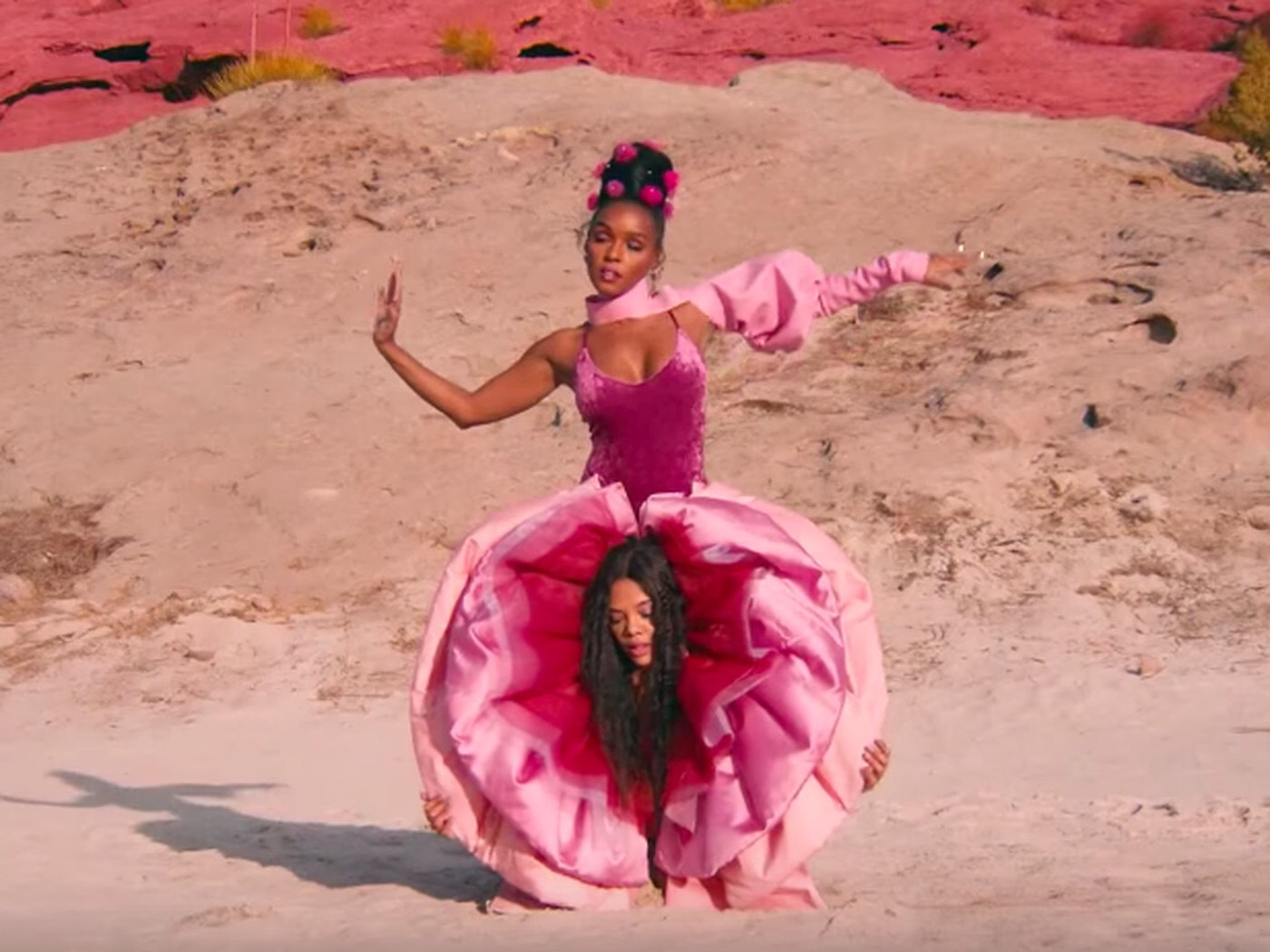 """Janelle Monáe and Tessa Thompson in Monae's music video for """"Pynk"""""""