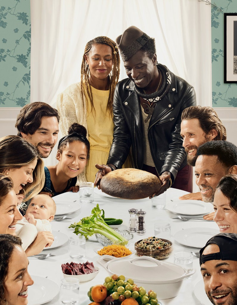 """The  artists Hank Willis Thomas and Emily Shur reimagined Norman Rockwell's  """"Freedom From Want,"""" the iconic 1943 ode to American abundance. Credit For Freedoms."""