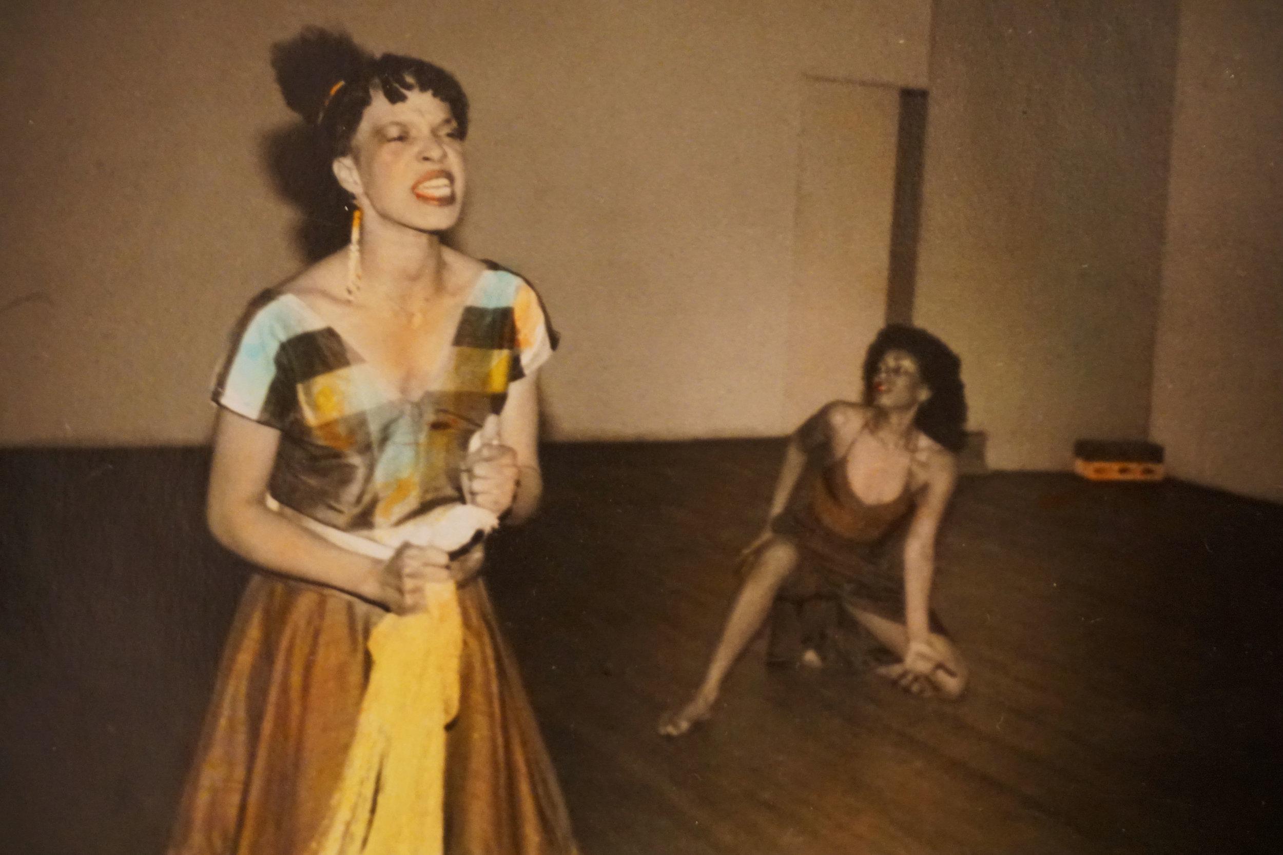 Hand colored B/w Photo taken by Nina Kuo at Basement Wkshop c 1980's with Jessica Hagedorn and Thulani Davis etc.