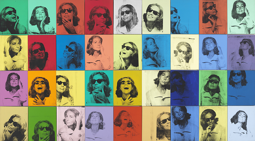Andy Warhol (1928–1987), Ethel Scull 36 Times, 1963. Silkscreen ink and acrylic on linen, thirty-six panels: 80 × 144 in. (203.2 × 365.8 cm) overall. Whitney Museum of American Art, New York; jointly owned by the Whitney Museum of American Art and The Metropolitan Museum of Art; gift of Ethel Redner Scull 86.61a‒jj © The Andy Warhol Foundation for the Visual Arts, Inc. / Artists Rights Society (ARS) New York