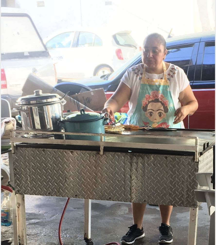 Rosa, a working-class mestiza woman in Puerto Vallarta who made a quesadilla so delicious I ate it three days in a row. Check out her apron - Frida is a beloved figure.