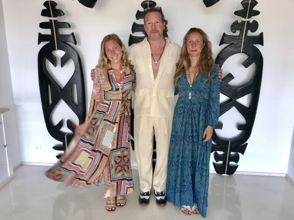 Marina Roeloffs Von Hademstorf, Gregory de la Haba, and Kira Roeloffs Von Hademstorf in front of The Three Muses of Monte Carlo (back wall)