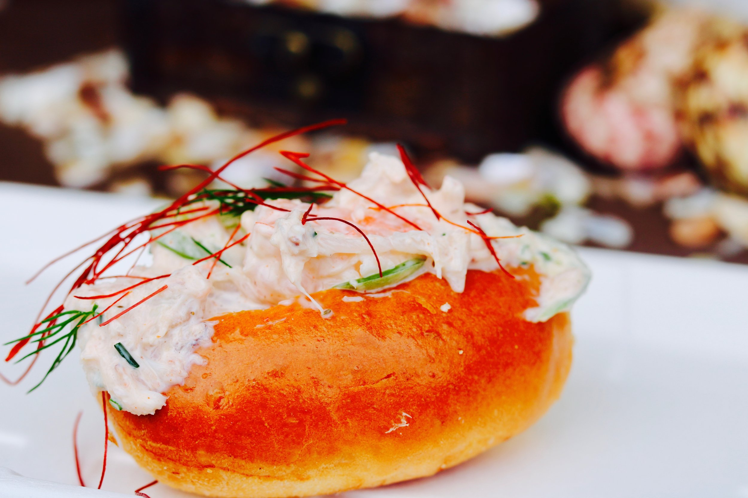 Crab & Shrimp roll with remoulade sauce, Serrano chili, chili threads and dill