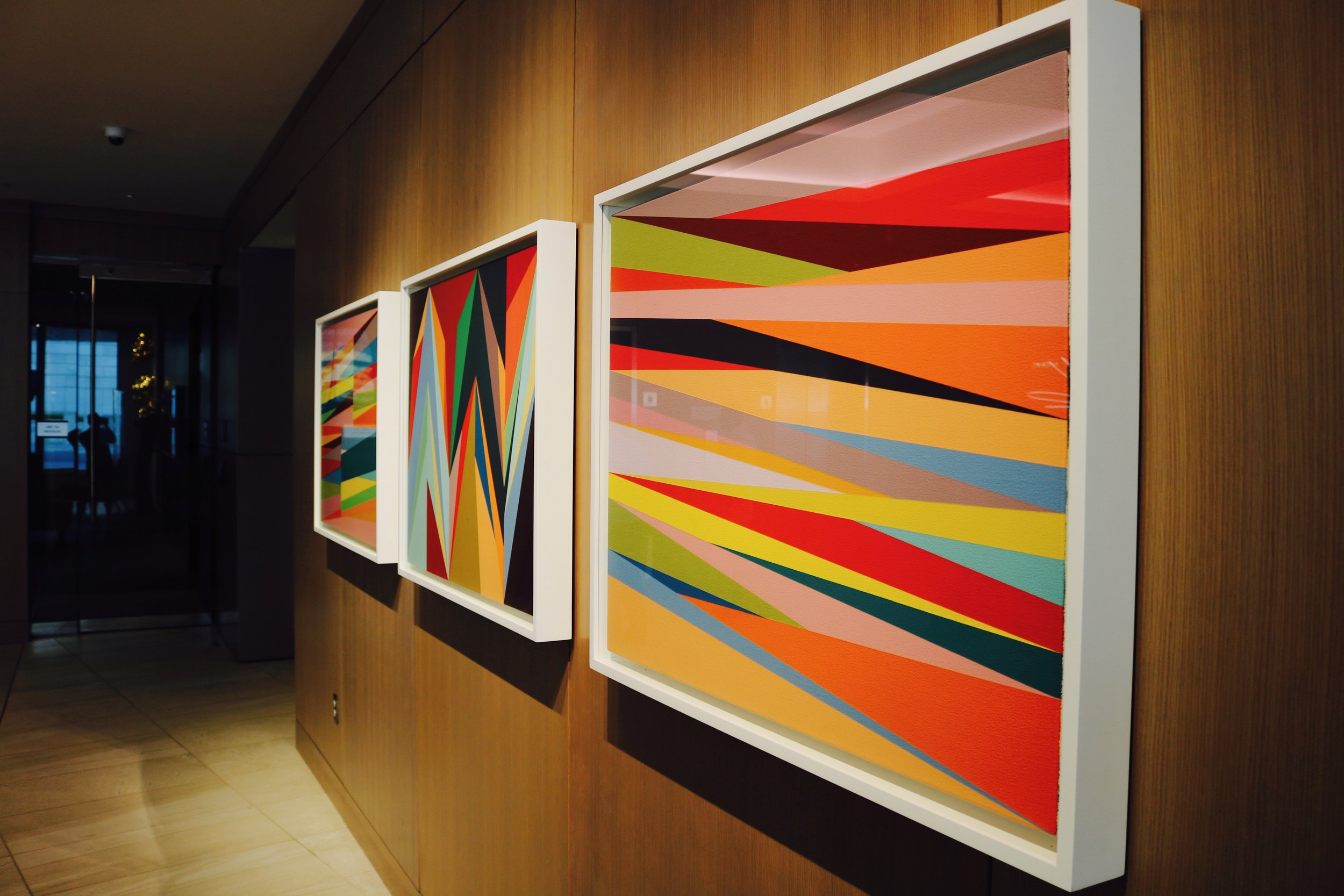 """Artist: Odili Donald Odita """"Expand,"""" """"Flashpoint,"""" & """"Windows,"""" all 2014 Photo by: DJB for TBOT"""