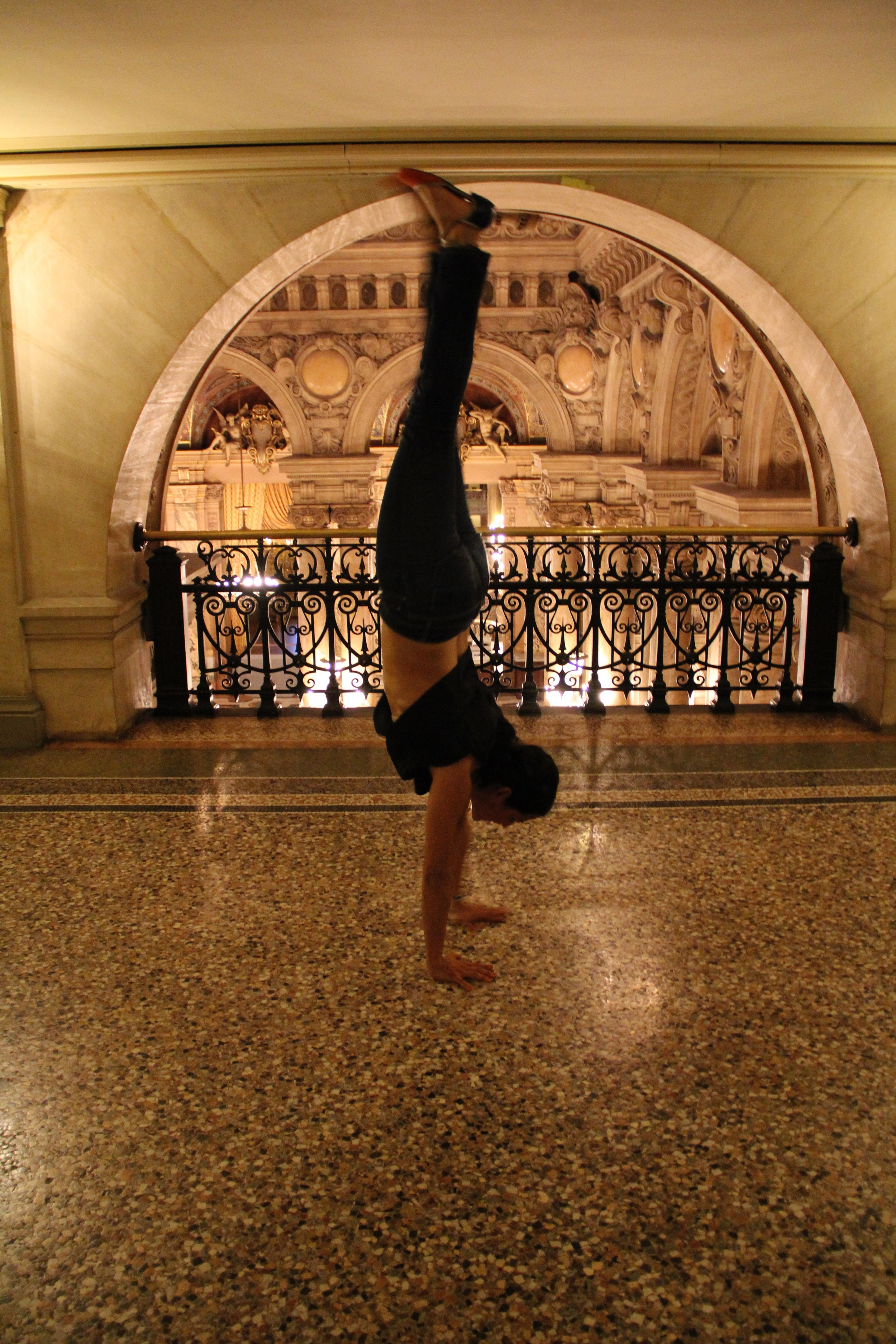 Paris Opera house and handstand.