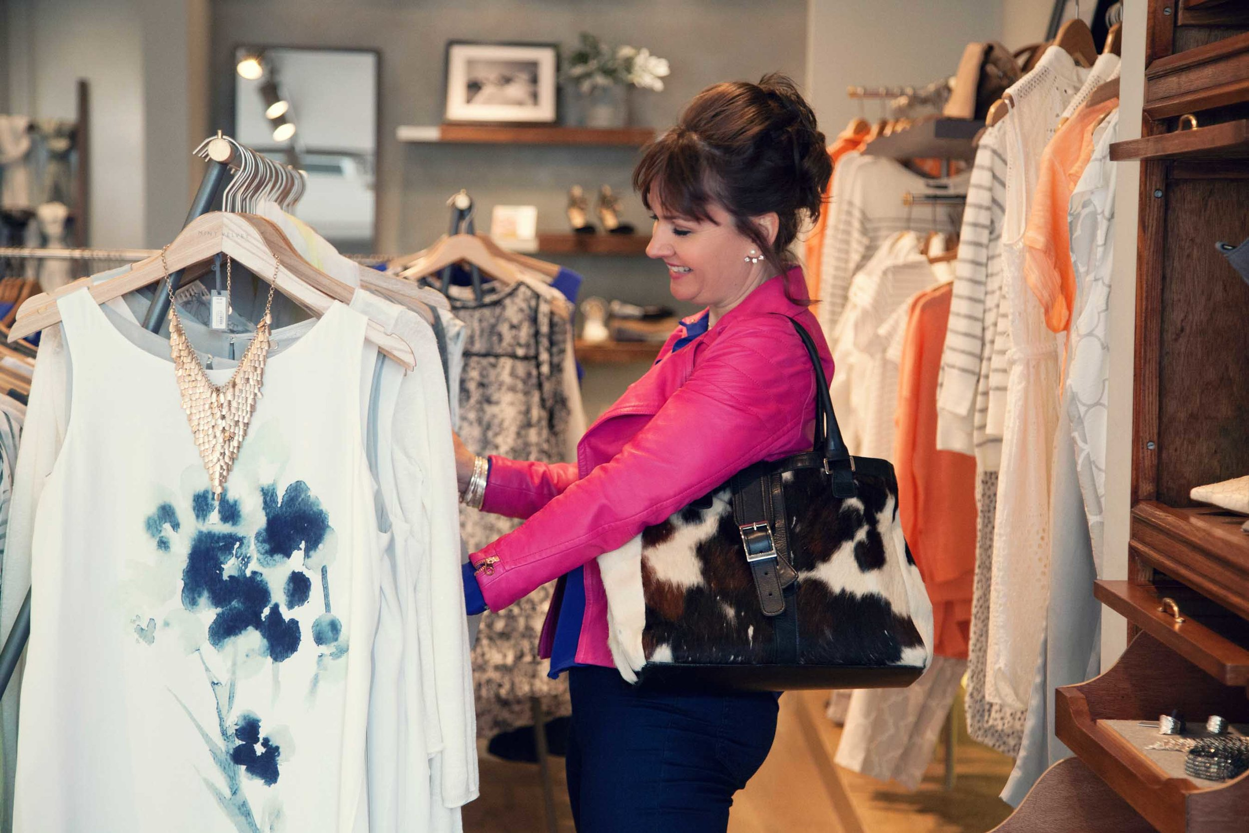 Becky Barnes Personal Stylist looking at clothes on a personal shopping trip | Personal Shopper in Bristol | Becky Barnes