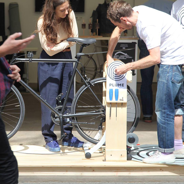 Bicycle powered chocolate lollipop lathe