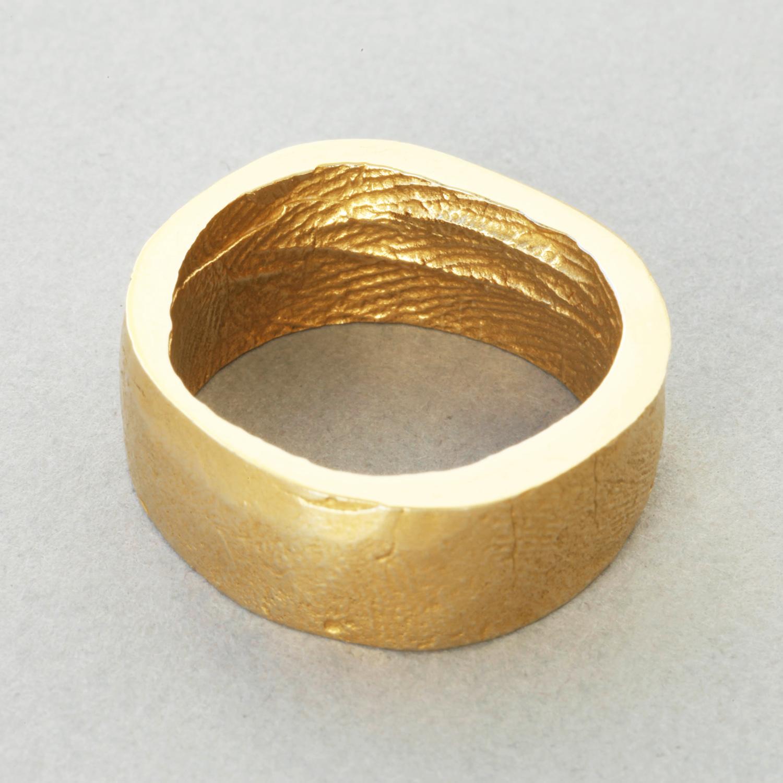 You & Me wedding ring, yellow gold, broad width, buffed finish.