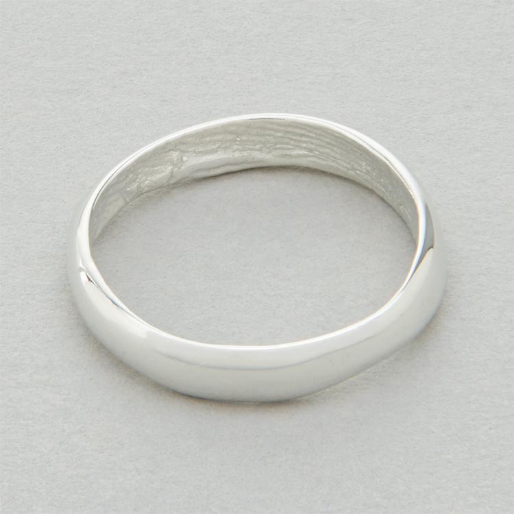 You & Me wedding ring, platinum, slender width, polished finish.
