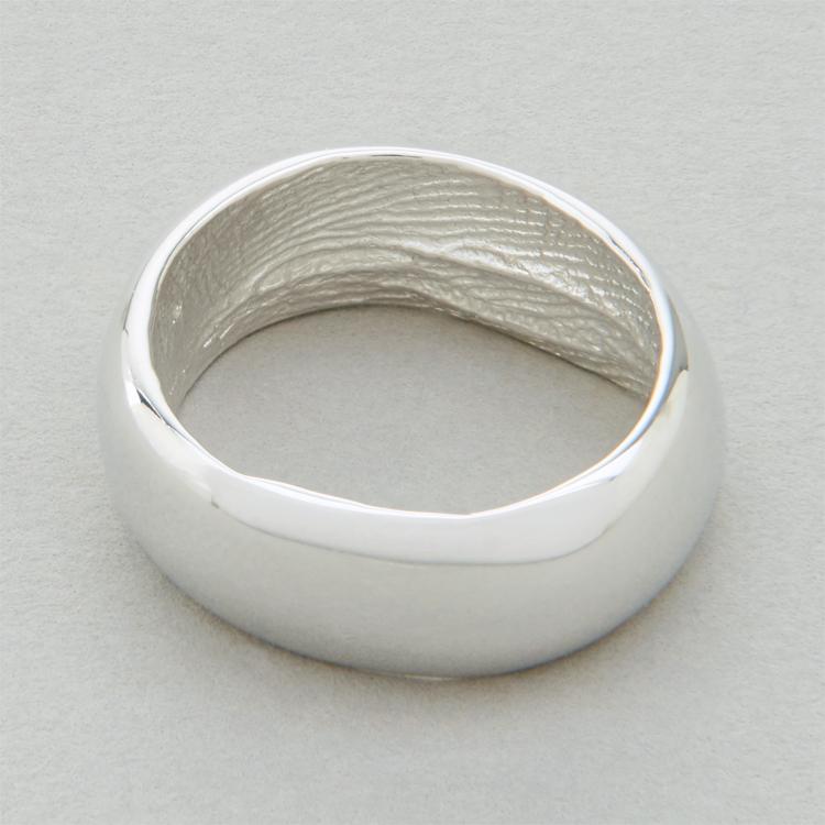 You & Me wedding ring, platinum, broad width, polished finish.
