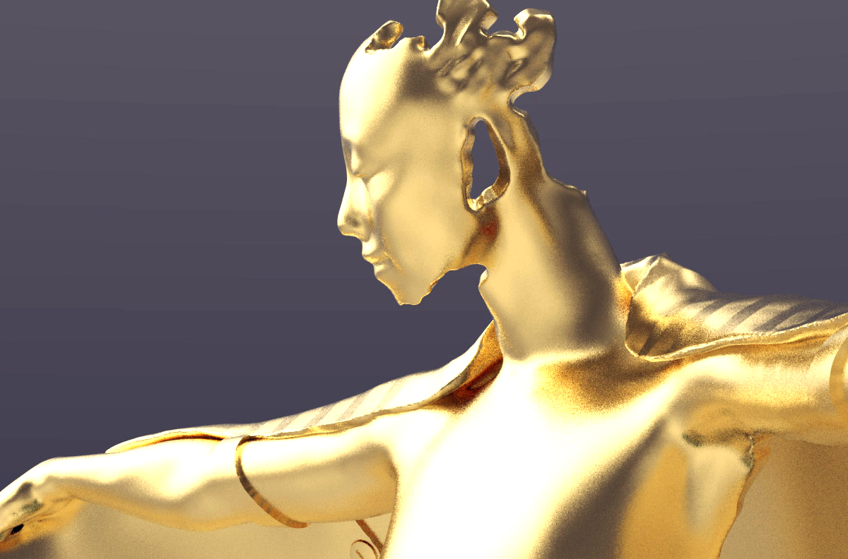 Gold winged figure film award trophy, face
