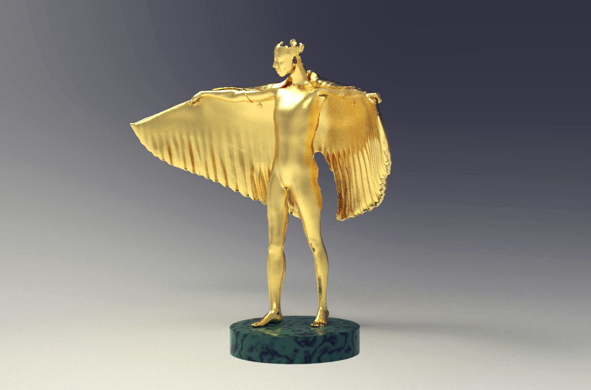 Gold winged figure trophy design, front