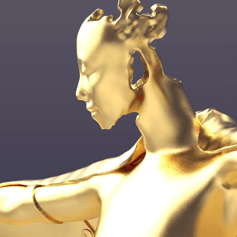 Gold winged figure trophy design, face