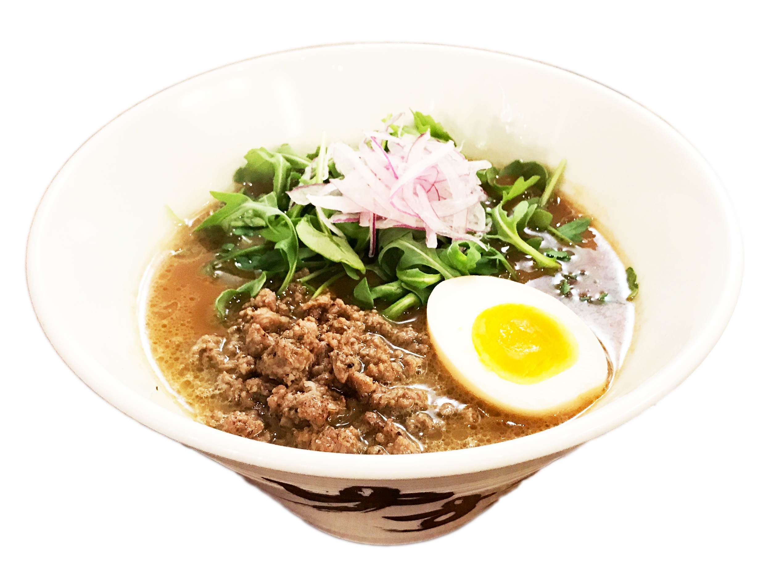 Gyukotsu $15.95 //**Daily limit of 50 bowls  No MSG. Non-GMO. No Preservatives. No Artificial coloring. No Antibiotics.   Grass-fed Beef Bone Broth Noodles: Yuzu   Original Homemade Black Pepper Noodles Topped with: grass-fed ground beef, red onions, arugula, soy marinated soft boiled egg.   Contains: egg, soy sauce / noodles contain: wheat SPICY +$1