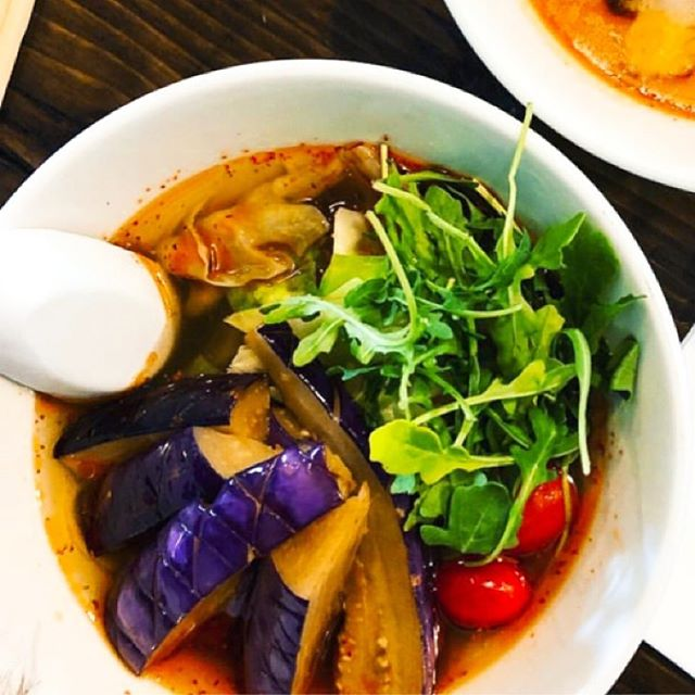 Our veggie ramen inspiration! There are not so many ramen shops that can serve the best ramen for vegetarians, so we made this all Vegan recipe! The broth is made from organic vegetables, kelp(Konbu) and gluten free soy sauce. Topping is all veggie, fried eggplant, steamed cabbage, arugula, and cherry tomato🍅  If you like spicy, you can have an option to order 'Spicy'🌶(Spicy oil includes sesame). This is a very good combination with beer🍻 and cold sake🍶 Spicy food promotes your appetite!  #yuzuramenandbroffee #yuzuramenandtaproom #organic #organicramen #ramen ##veggieramen #veggie #veganfood #bestramen #tonkotsu #misoramen #gyukotsuramen #sushi #organicvegetables #bayareaeats #eastbayeats #sanrafaeleats #emeryvilleeats #spicy #spicyramen #spicyoil #homemadenoodles #gyoza #cucumbersalad #beer #coldsake #foodie #foodinsta #foodlover