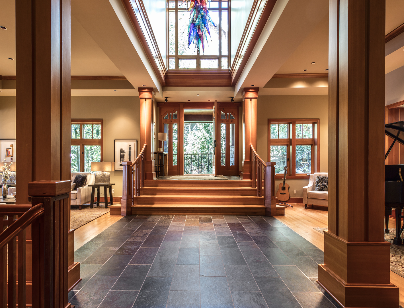 Photo of entryway to beautiful PNW home by Seattle Residential Architect
